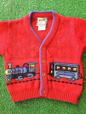 Infant Red Train Button Up Sweater - 18 months by Plaid Moose