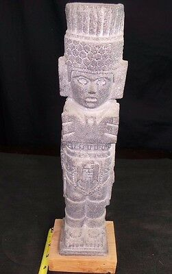 Pre Columbian Colombian Mayan Style Sculpture Cement Figure Wood Base