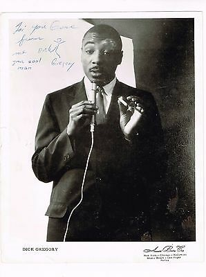 Early 1960's Dick Gregory Comedian, Civil Rights Activist Signed Photo 8 x 10