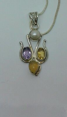 Tigers Eye & Citrine 925 Silver Pendant/Necklace with 16 inch Snake Chain.
