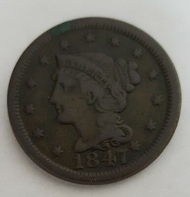 1847 Large Cent Braided Penny Very Fine BV $40