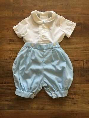 Toddle Tyke Vintage Blue Baby Boys 2Pc Outfit Romper Collared Shirt 6 Months