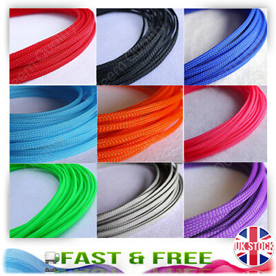 2 Meter * 6MM Expandable Braided Sleeving For Wire Cable Loom - Multi Option