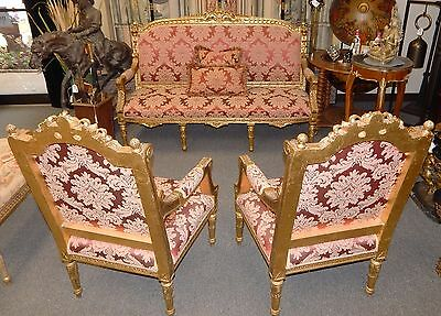 French Louis XVI Style Vintage Giltwood Parlor Settee Sofa w/ Two Arm Chairs