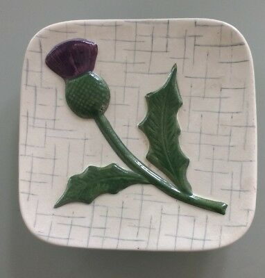 Vintage OLDCOURT WARE Hand Painted Raised Relief Thistle Decorated Trinket Dish