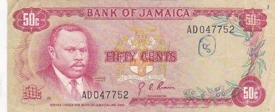 1960 Jamaica 50 Cents Note, Pick 53a