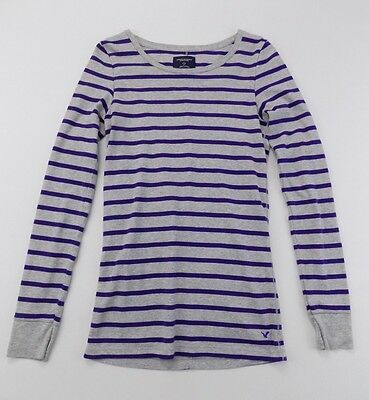 AMERICAN EAGLE Girls Youth Size Large Gray Purple Striped Shirt Top Long Sleeve