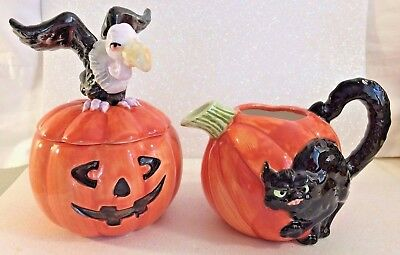 Vintage Fitz and Floyd *Halloween Vulture and Cat on Pumpkin* Sugar Bowl and Cre