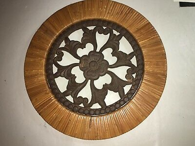 """ANTIQUE CAST IRON WALL ART ORNATE with BAMBOO 13 1/2"""""""