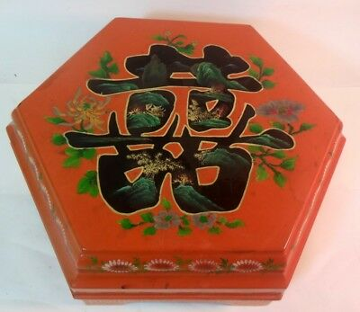 Vtg Japanese Lacquer Bento Lunch Trinket Box Gilt Orange Pagoda Landscape