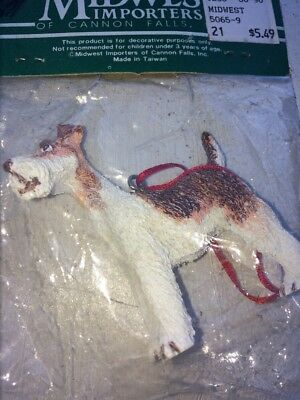 Vintage Wire Haired Fox Terrier or Airedale Figurine Ornament Taiwan Unopened
