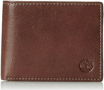 Timberland Mens Commuter Pebbled Leather Bifold Wallet Cognac