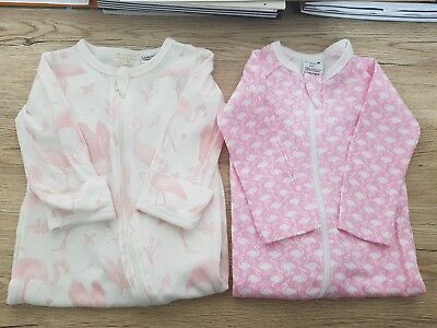 Baby girls flamingo full rompers 00/0 pink wilson and frenchy