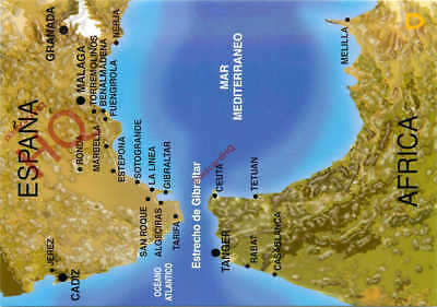 Picture Postcard- The Straits Of Gibraltar, Map