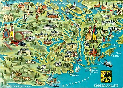 Picture Postcard- Sodermanland, Map