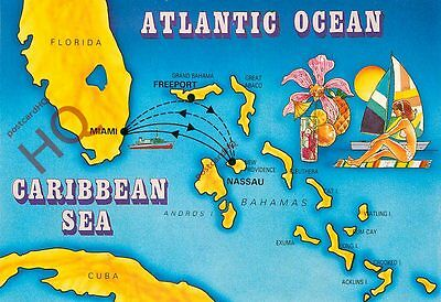 Picture Postcard- The Caribbean, Map