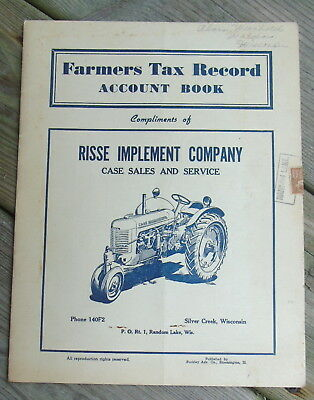 Vintage 1940's Farmers Tax Account Record Book Risse Implement Co. Case Service