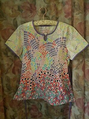PEACOCK Koi By Kathy Peterson Scrubs Women's Top Size Medium. Multicolor