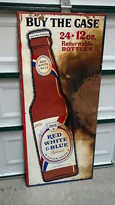 Vintage Original Red White And Blue Beer Large Metal Advertising Sign Pabst Brew
