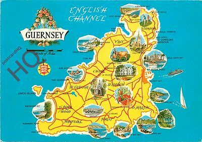 Picture Postcard-:Guernsey, Map