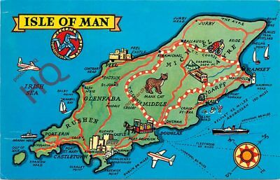 Picture Postcard-:Isle Of Man, Map [Colourmaster]