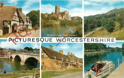 Picture Postcard:-Picturesque Worcestershire (Multiview)