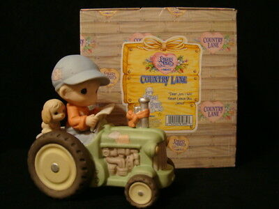 Precious Moments **HAND SIGNED/GENE** Boy Riding Tractor-Country Lane-John Deere