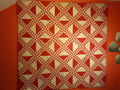 Early Very Graphic Red & White Quilt