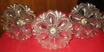 """3 Large 1860's Antique Clear Glass With Flower Design Curtain Tie Backs 4 1/2"""""""