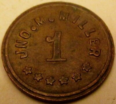 C. 1914 Jno. M. Miller Ingle System Merchant Good-For One Cent In Trade Token!