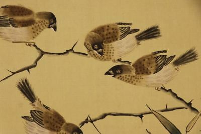 """JAPANESE HANGING SCROLL ART Painting """"Sparrows"""" Asian antique  #E7605"""