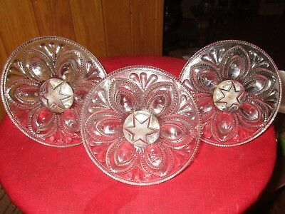 """3 LARGE 1860'S ANTIQUE GLASS WITH FLOWER DESIGN CURTAIN TIE BACKS 5"""" great shape"""