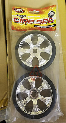Imex 1/8th Scale Buggy Street Wheels Complete 1 Pair Part # IMX7194 Chrome