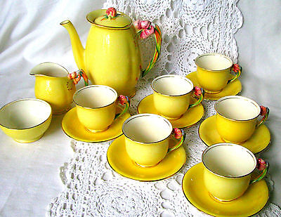 Royal Winton Tiger Lily Yellow 16 Piece Coffee Breakfast Set or Tea Set c.1930s