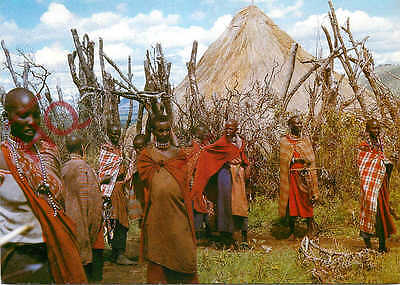 Picture Postcard:;Masai Women Near Their Huts