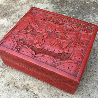 GENUINE ANTIQUE CHINESE 19th C. QING DYNASTY CARVED CINNABAR LACQUER BOX