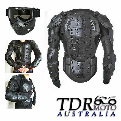 Black Adult's Racing Motorcycle Off-road Body Armour w'/ Tinted Goggles Eyewear
