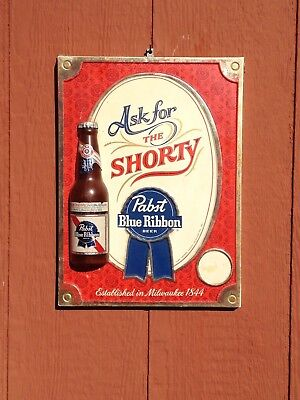 Old Vintage PABST Ask for the SHORTY Beer Bottle Sign 3D Bar Tavern Pub Rare PBR