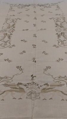 """Antique figural Italian hand embroidery linen tablecloth 106""""× 66"""""""