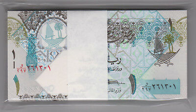 Qatar ND 1 Riyal whole bundle(100runs) all perfect GEM UNC