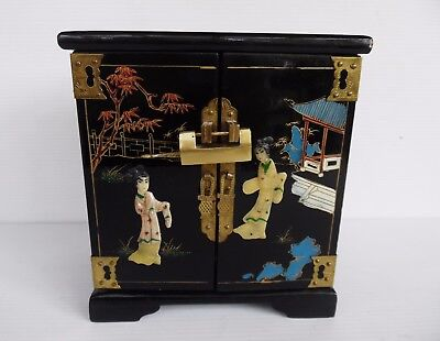 Vintage Chinese Jewelry Box Raised Motif, Brass Fittings & Lock Black Lacquer