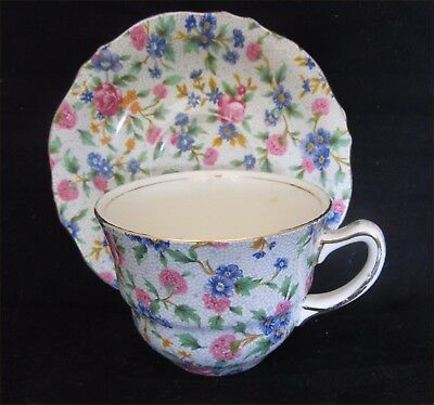 """Vintage Royal Winton Cup & Saucer – """"Old Cottage Chintz"""" Pattern"""