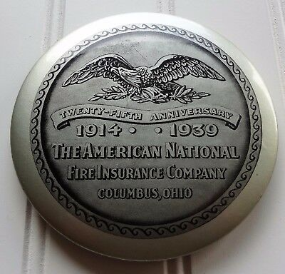 Antique 1939 Advertising Pocket Mirror AMERICAN NATIONAL FIRE INSURANCE COMPANY