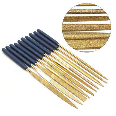 10Pcs Titanium Diamond Coating Needle Flat File Set Metal Working Craft Tools