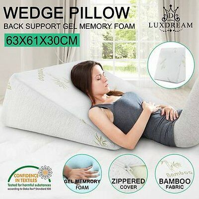 NEW Unique Design Luxdream Memory Foam and Cool Gel Wedge Pillow w/ Bamboo Cover