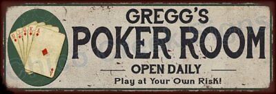 Gregory's Poker Room Game Metal Sign 6x18 Rusty Man Cave Decor 61803903