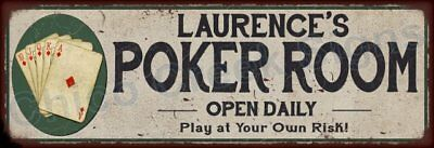 Lawrence's Poker Room Game Metal Sign 6x18 Rusty Man Cave Decor 61804000