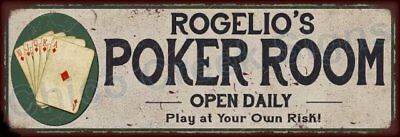 Roger's Poker Room Game Metal Sign 6x18 Rusty Man Cave Decor 61804112