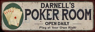 Darrell's Poker Room Game Metal Sign 6x18 Rusty Man Cave Decor 61803812