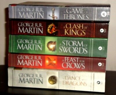 Lot 5 Game of Thrones Series Books George RR Martin Matched Set  Large Trade PB